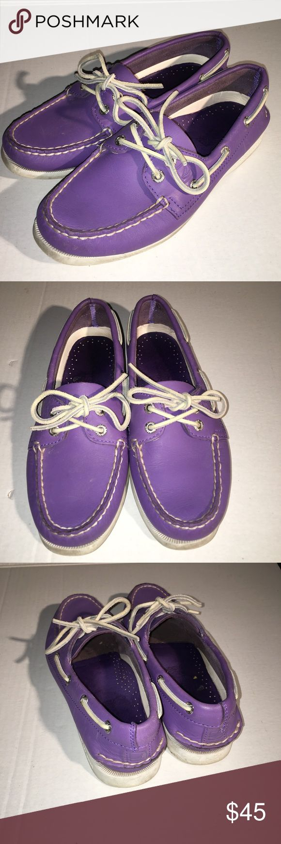 Purple leather Sperry top slider women's 7 cute! Logos condition lots of life left, I just have way to many pairs. Sperry Shoes Flats & Loafers