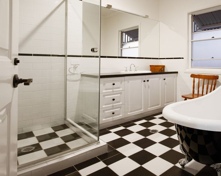 BOLD FEATURES: The colour palate chosen in the bathroom is stylish and classic