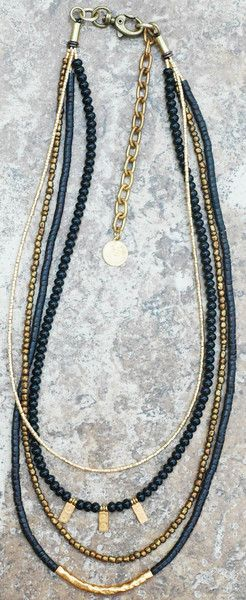 Long Black Onyx, Bronze and Gold Charm Necklace