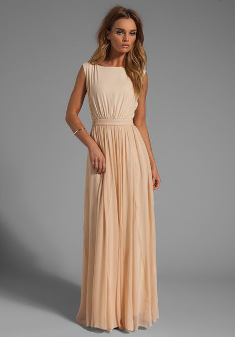 ALICE + OLIVIA Triss Sleeveless Maxi Dress with Leather Trim in Almond Cream // LOVE!!