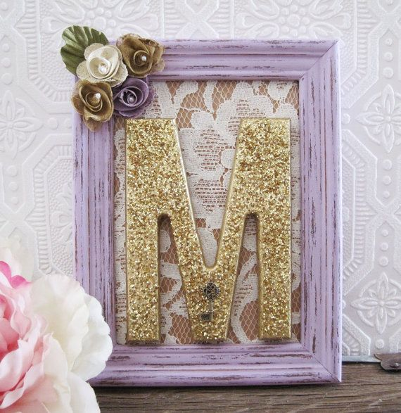 Letter M Nursery Decor Baby Girl Nursery Art by SeaLoveAndSalt, $45.00