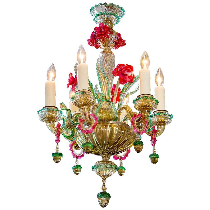 Colorful Vintage Murano Glass Chandelier | From a unique collection of antique and modern chandeliers and pendants at https://www.1stdibs.com/furniture/lighting/chandeliers-pendant-lights/