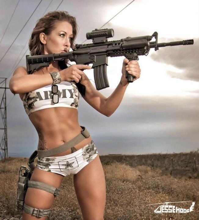 Have military naked army girl holding a gun not