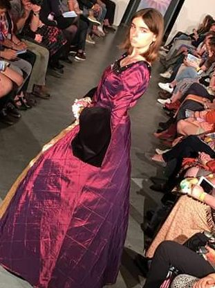 Satin tudor dress, Farnborough college of technology runway, Fashion designer: Steph Linkens, Model: Eden Macneil