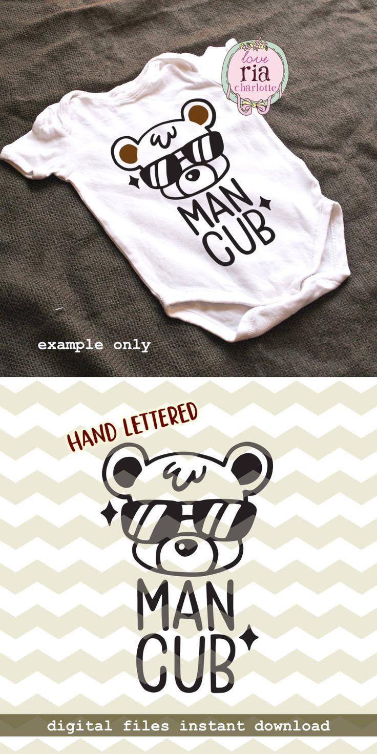 Man cub, baby bear sunglasses new born cute fun quirky digital cut files, SVG, DXF, studio3 for cricut, silhouette cameo, diy vinyl decals by LoveRiaCharlotte on Etsy