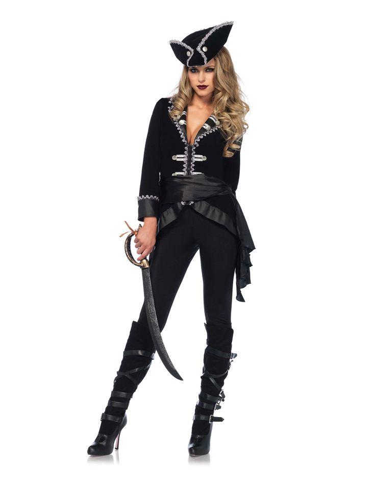 Disfraz pirata de los mares mujer-Premium: Este disfraz de pirata para mujer incluye una chaqueta, un legging, un cinturón y un sombrero (sable y botas no incluidos).La chaqueta lleva una cremallera por delante yestá adornada...