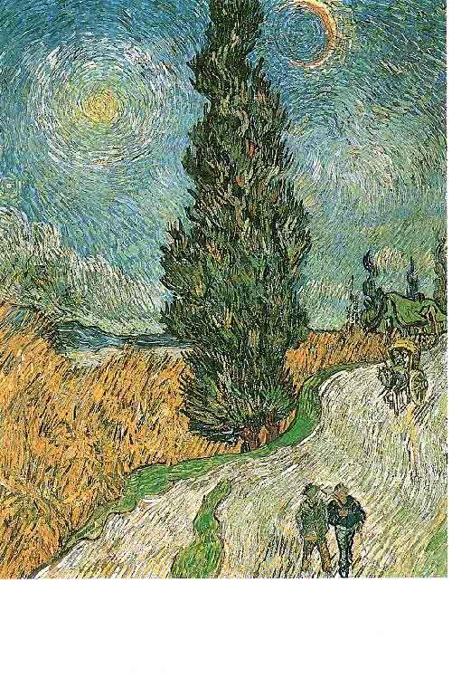 Postkaart  Titel: Cypressen in de sterrennacht - Cypress in the starry Night (1890)  Kunstenaar: Vincent van Gogh. Collectie Postersquare
