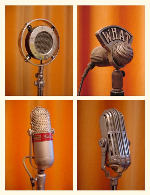 Old style professional studio Microphones from The Vintage Microphone Gallery - via http://www.pinterest.com/DianaDeeOsborne/instruments-for-joy