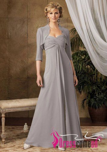 A-line Sweetheart Floor-Length Silver Chiffon Sequins Mother of the Bride Dresses With Wrap
