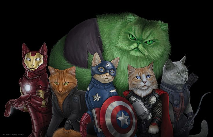 {Catvengers!} by Jenny Parks - Iron Man, Black Widow, Captain America, The Hulk, Thor, and Hawkeye ... CATS!