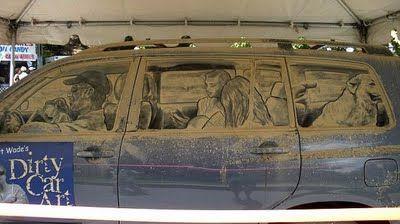 dirty vehicle window art