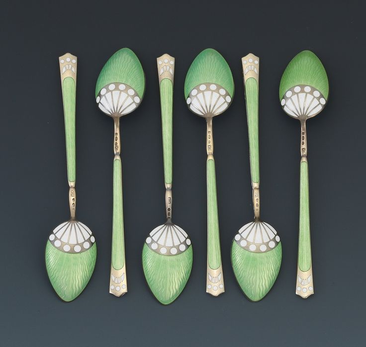 A Boxed Set of Sterling Silver and Enamel Demitasse Spoons, Retailed by Asprey, London, ca. 1926