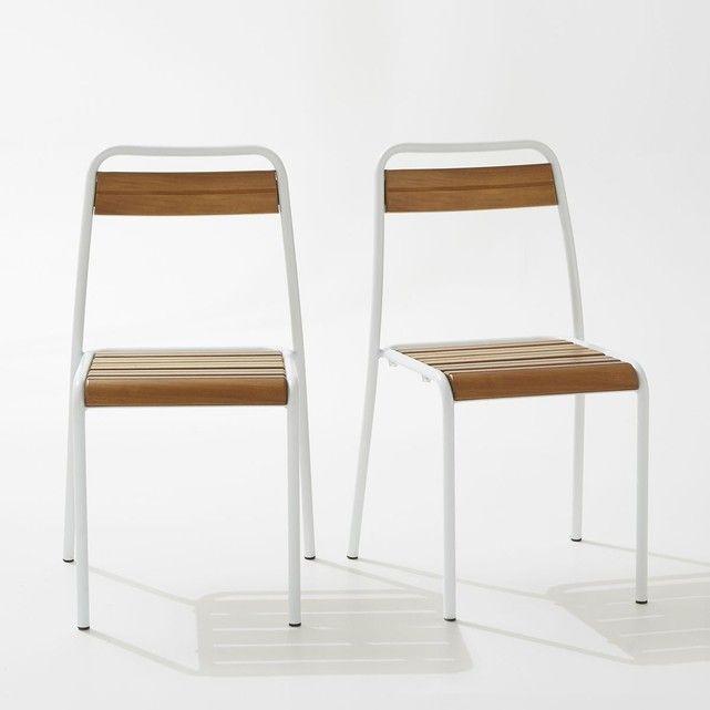 Chaise de jardin métal et chêne teinté, lot de 2 La Redoute Interieurs