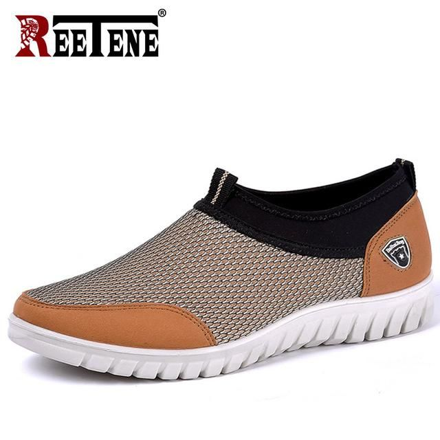 Mens Leather Casual Shoes Breathable Slip On Shoes 2019 Summer Mesh Flat Loafers