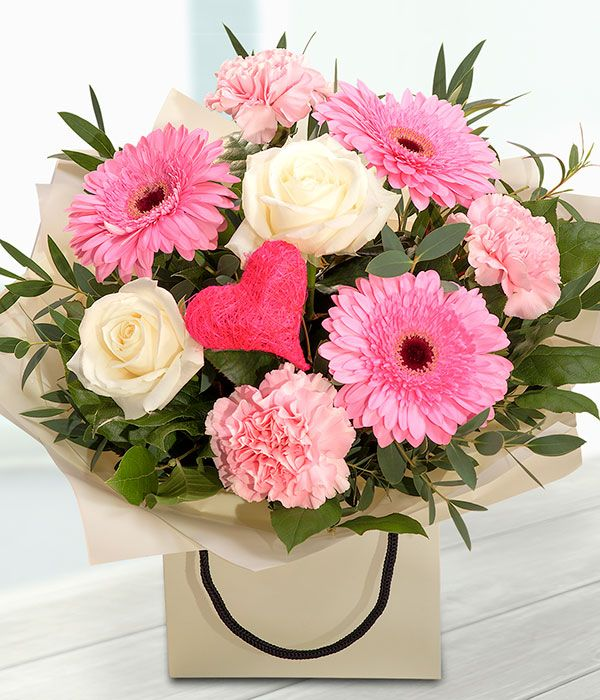 Simply the best pink white mothers day flower gift bag for Mothers day flower arrangements