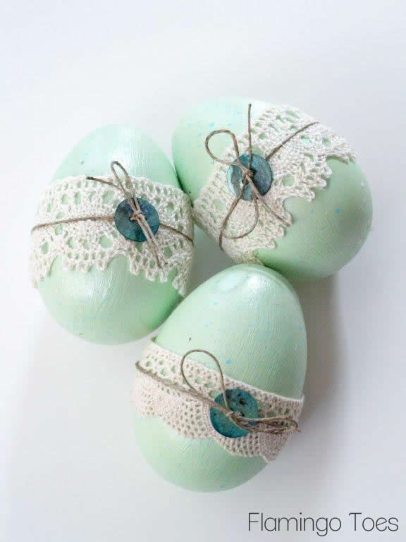 Buttons and Lace Easter Eggs
