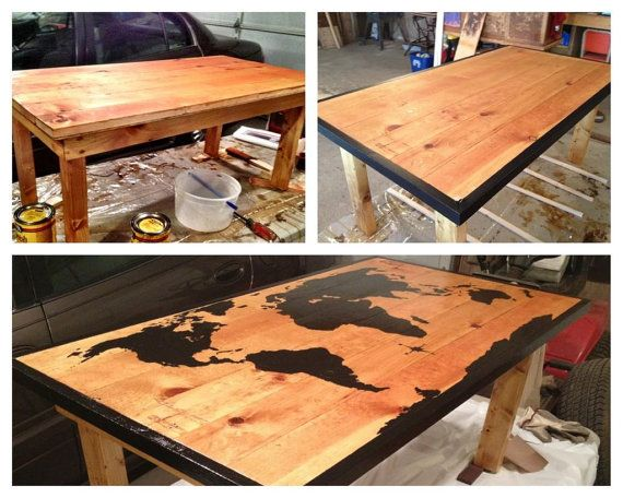 World Map Coffee Table by StusWood on Etsy, $99.00