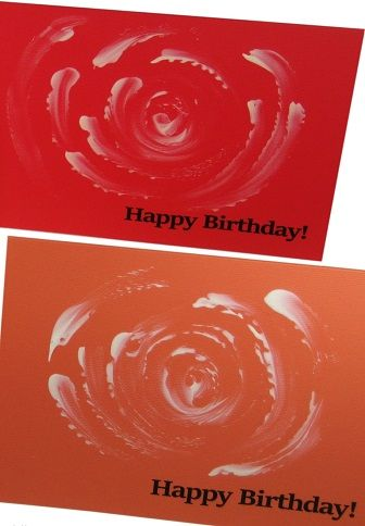 Handmade Happy Birthday Card Set 4 Hand Painted Cards With