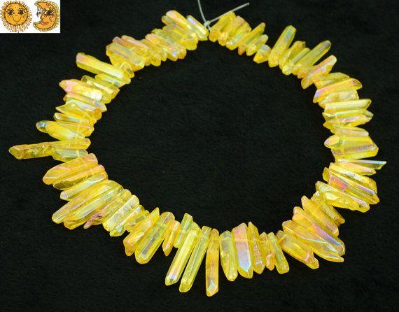 Galvanisierte Quarzkristall 15Zoll Strang Mystic von DIYbeads888