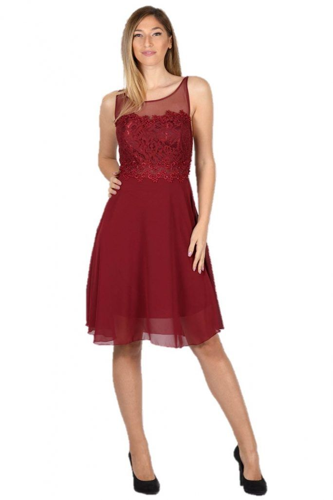 Midi Φόρεμα Ζορζέτα με Δαντέλα και Διαφάνειες στο Στήθος Μπορντό - Μπορντό   223e0df2332