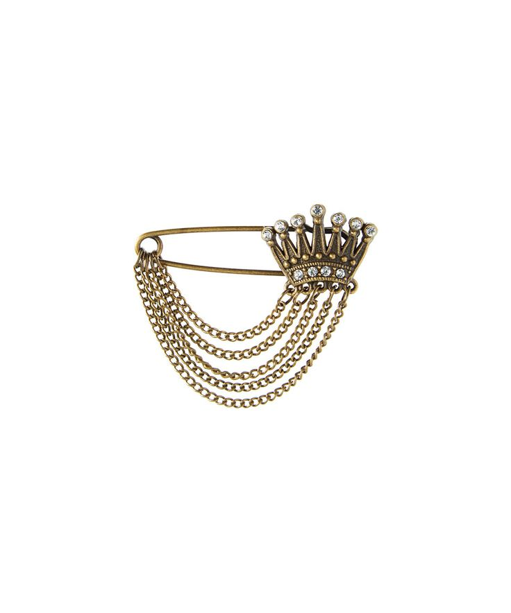 Take a look at this Pavcus Designs Crystal & Goldtone Crown Safety Pin Brooch today!