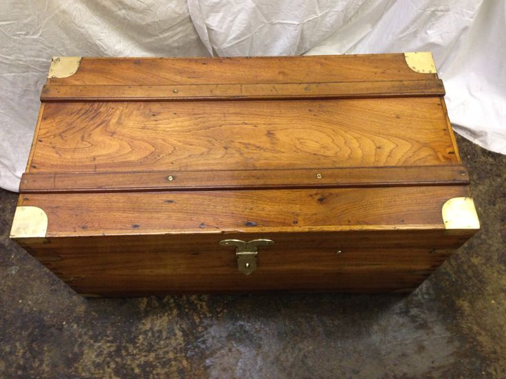 Antique camphor trunk with brass corners