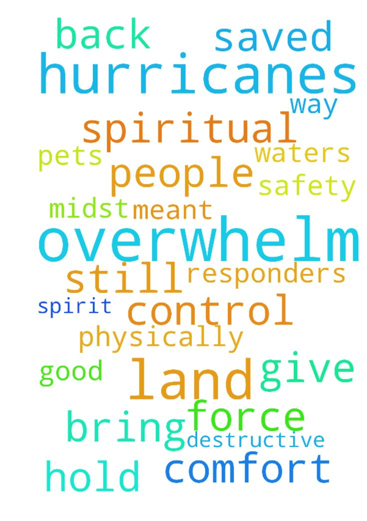 Lord don't these hurricanes overwhelm our land and - Lord dont these hurricanes overwhelm our land and our faith. Protect those still in harms way and hold back its waters and destruction. Give safety to people, pets and first responders. Jesus You are in control and I pray that Your comfort and Spirit will be in the midst of this destructive force. Lord help hearts cry out to You and be saved in the physically and especially the spiritual. Lord bring out good what was meant for bad in these…