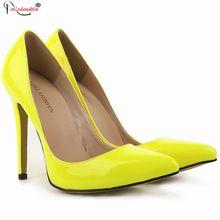 Nueva Moda Tacones Punta estrecha Básica Elegante Marca Bombas Amarillo Señoras Atractivas de Tacón Alto Mujer Zapatos de Carrera Oficina SMYBK-009(China (Mainland))