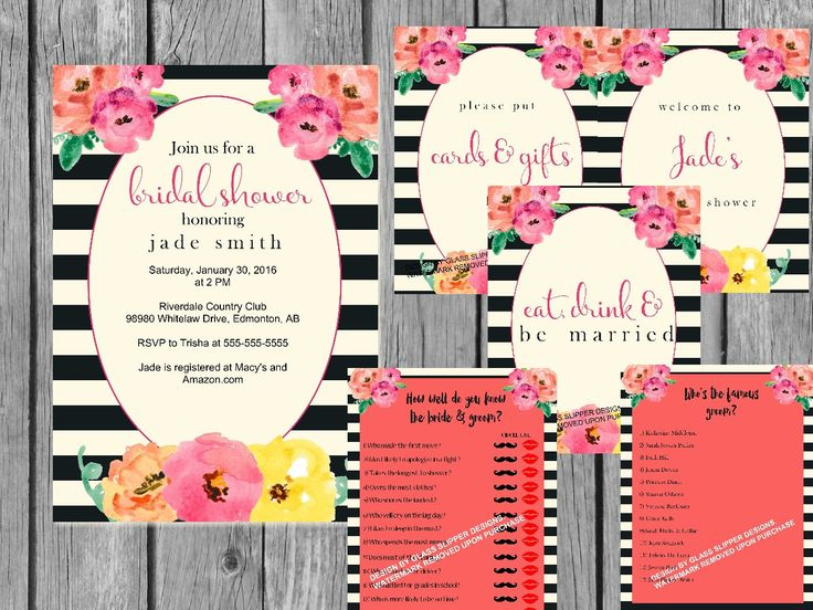 Printable black and white striped watercolour flower bridal shower bundle. This would be great for a Kate Spade-themed shower!