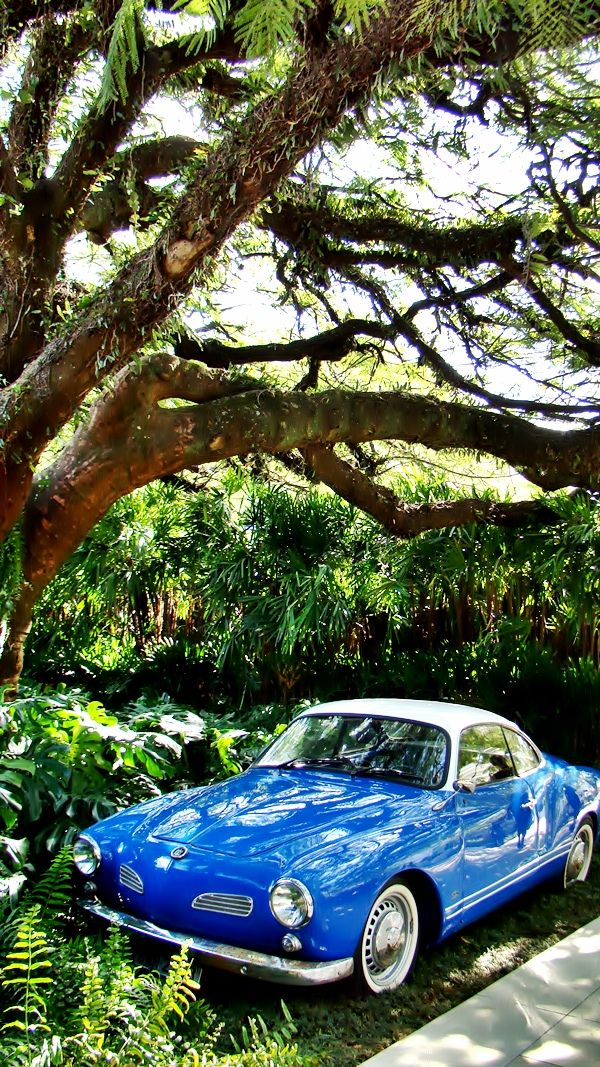 Roberto Migotto parked a '68 blue Karmann Ghia in the driveway to complete the look at the Casa Cor 2013 exhibition house.