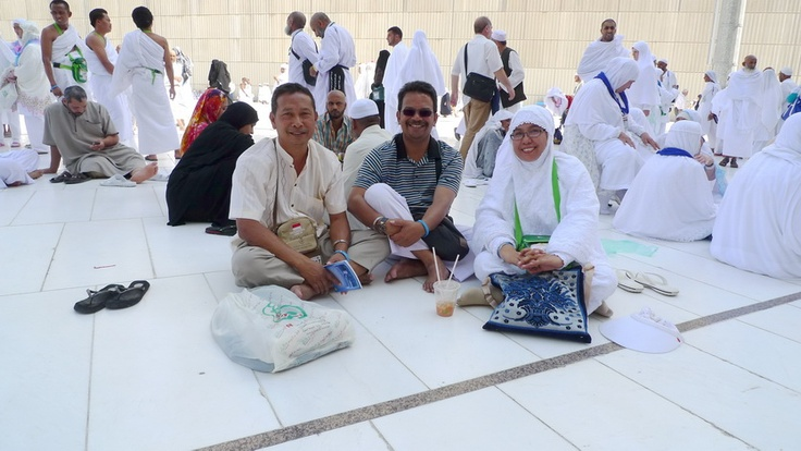 beside masjidil haram with my bro, sista, and wife