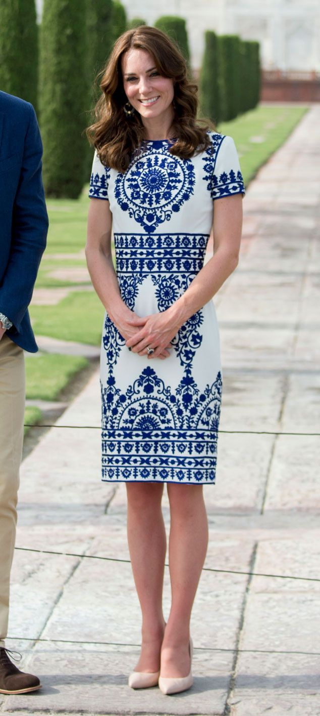 Taj Mahal Style from Kate Middleton's Entire India Wardrobe  The duchess wore a Naeem Khan dress during her and Prince William's visit to the Taj Mahal.