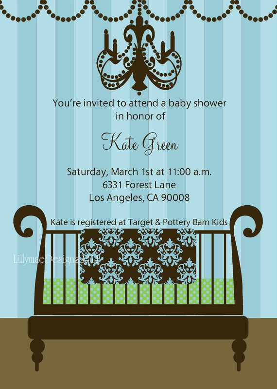 Baby Boy Shower Invitation  Baby Boy's New Crib by LillyMaeDesigns, $13.00