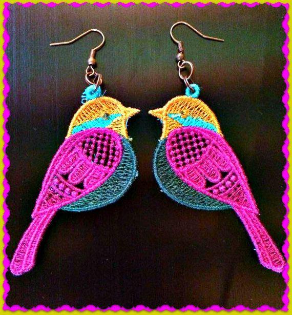 Schattige vogeltjes oorbellen  van CandyDreamSpiral op Etsy