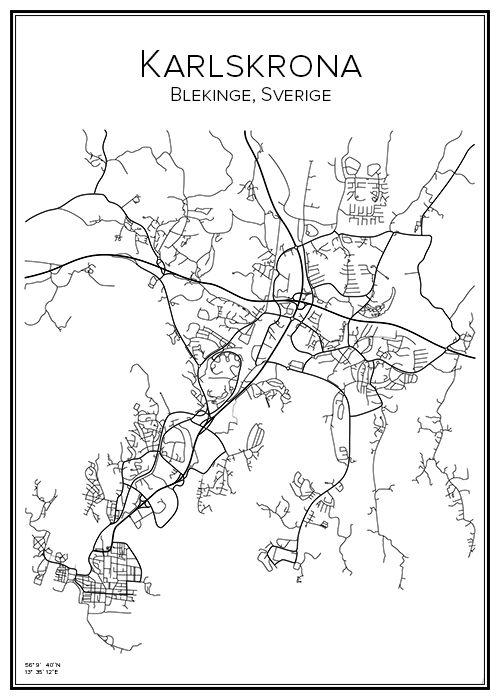 Karlskrona. Blekinge. Sverige. Karta. City print. Print. Affisch. Tavla. Tryck.