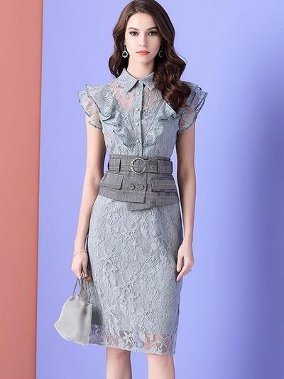 Stylish Sashes Falbala Lace Patchwork Bodycon Casual Dresses 2