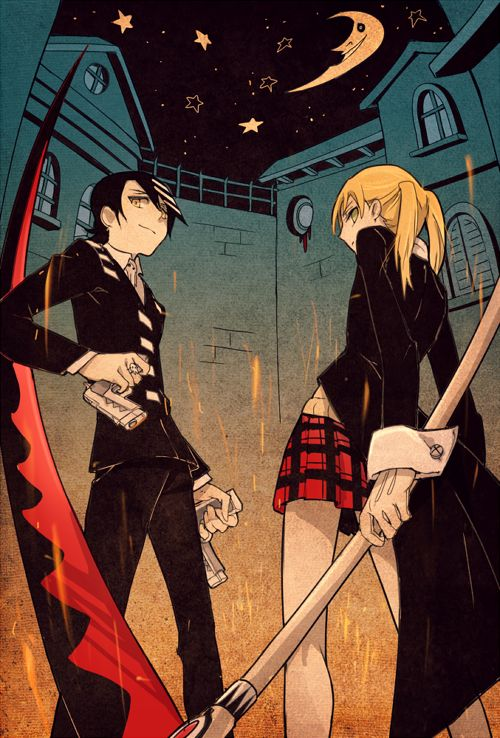 Soul Eater. That's Death the Kid on the left, and that's Maka on the right. WAIT!!!!! Where is Black Star!?!!?!?!?!?!?!?