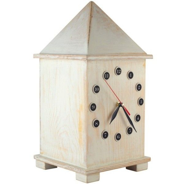 FREE SHIPPING Wooden White clock, Huge 15 inch high, Desk clock, Big... ($96) ❤ liked on Polyvore featuring home, home decor, clocks, wood home decor, wooden home decor, wooden mantel clocks, distressed wood home decor and distressed home decor
