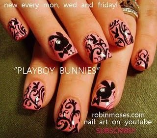 Playboy Bunny nail art by Robin Moses.   Click the pic to find more amazing nail art by this artist!