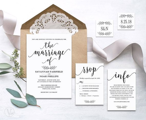 220 best Wedding Invitations images on Pinterest Kraft paper - wedding announcement template