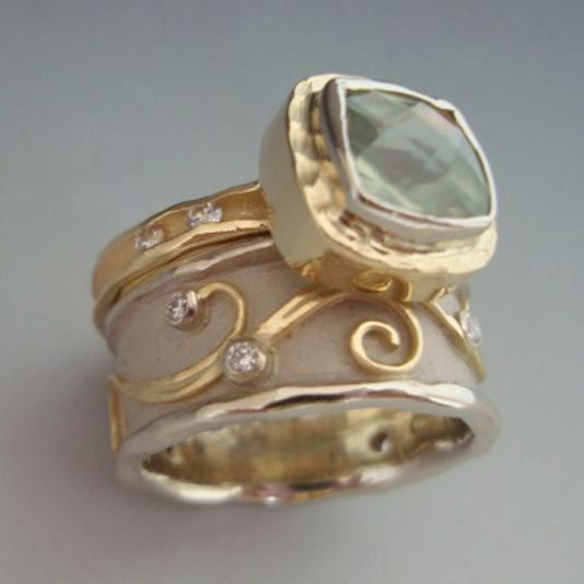 Anns Jewelry    18k yellow gold, prehnite, diamonds - 14k white gold, 18k yellow gold, diamonds ($2800 - $2400)