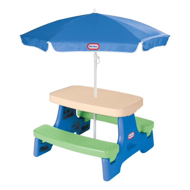 Little Tikes Easy Store Jr. Table with Umbrella, Blue/Red/Tan/White
