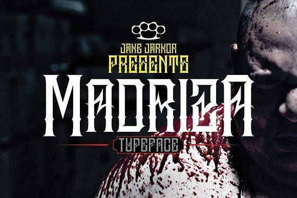 Jake Jarkor Presents: MADRIZA is a typeface inspired in tattoo letters, chicano culture and street art. It works well with normal size text, but it works even better for large displays, short words, or even just to incorporate a few or single characters in a design. Suitable for many creative products & tattoo designs, like posters, t-shirt, street wear, logo, signage, headlines, etc.