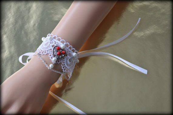 White bracelet. Victorian bracelet.Gothic. by Blackpassion on Etsy