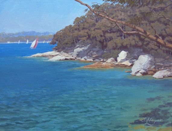 Clifton Gardens to Nielson Park  - Original Australian Landscape Oil Painting on Etsy, $247.41 AUD