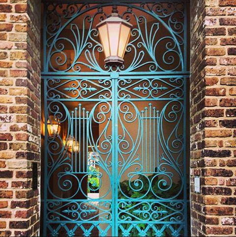 Charleston door way with decorative wrought iron.