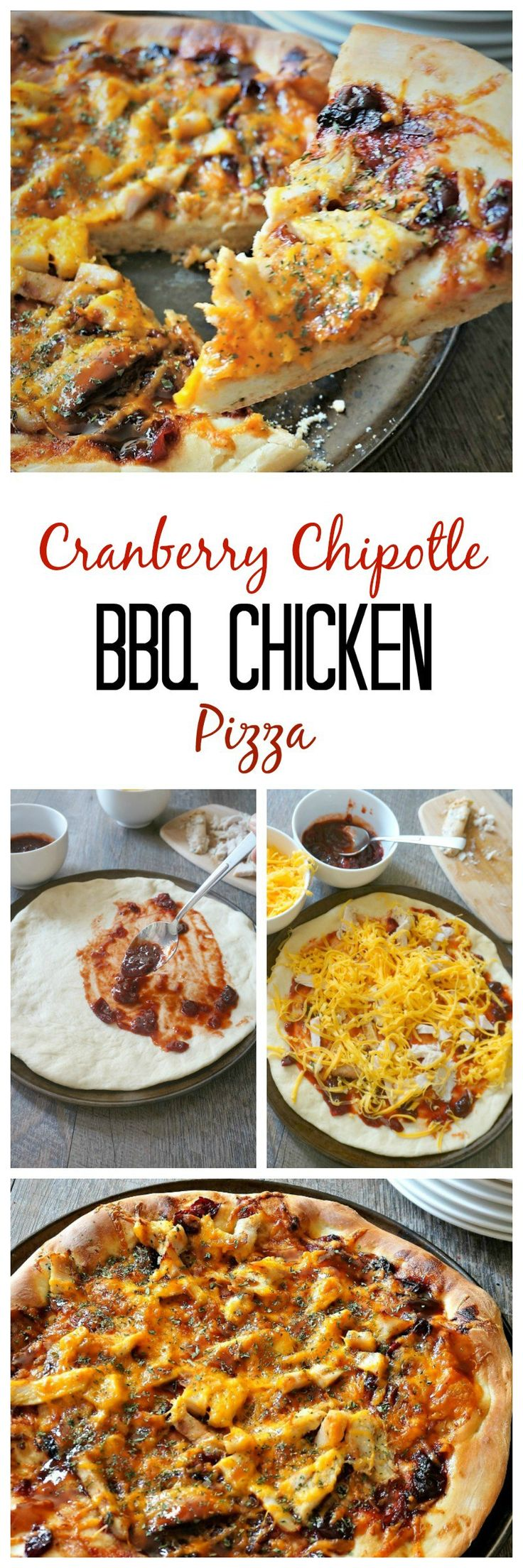 Cranberry Chipotle BBQ Chicken Pizza: Leftover cranberry sauce is transformed into the perfect sweet and spicy base for a BBQ chicken (or turkey) pizza. #SundaySupper