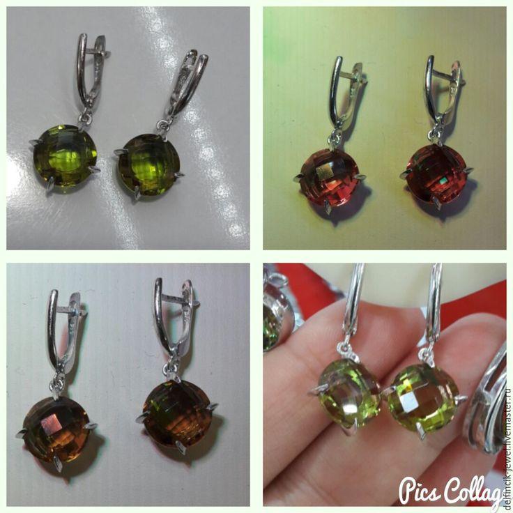 Купить Небольшие круглые серьги из серебра с султанитами - разноцветный, серьги с султанитом, султанит, диаспор