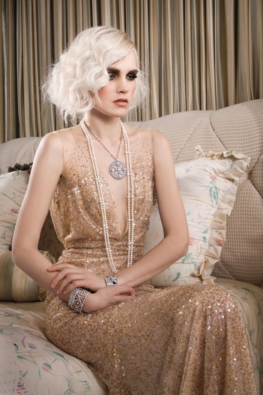Reem Acra sequined gown from a Great Gatsby-inspired fashion editorial. Photo by Gian Andrea Di Stefano