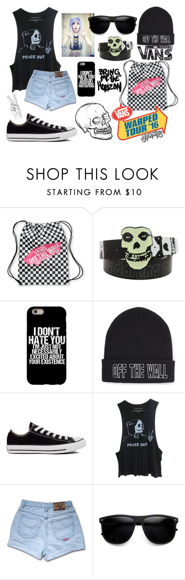 """""""Warped Tour Outfit #10"""" by cutemonsterbvb ❤ liked on Polyvore featuring Vans and Converse"""